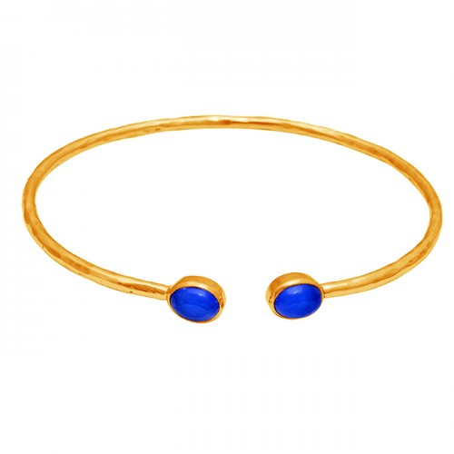 Oval Shape Blue Chalcedony Gemstone 925 Silver Gold Plated Bangle Jewelry