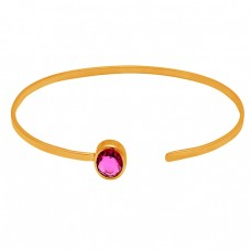 Oval Shape Pink Quartz Gemstone 925 Sterling Silver Gold Plated Bangle