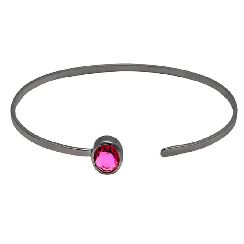 Oval Shape Pink Quartz Gemstone 925 Sterling Silver Gold Plated Bangle