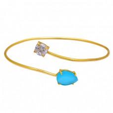 925 Sterling Silver Chalcedony Crystal Quartz Gemstone Gold Plated Bangle