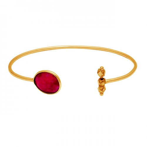 Oval Shape Ruby Gemstone 925 Sterling Silver Gold Plated Designer Bangle