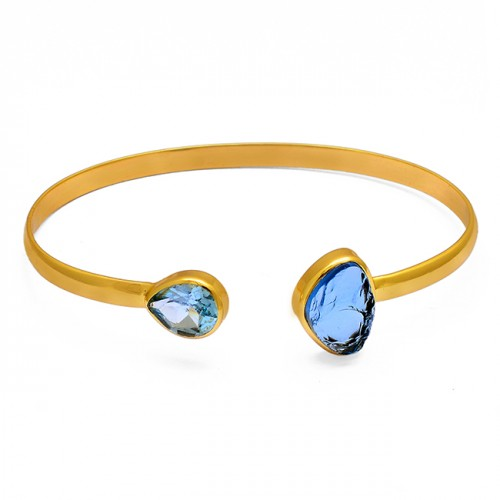 Topaz Chalcedony Gemstone 925 Sterling Silver Gold Plated Bangle Jewelry