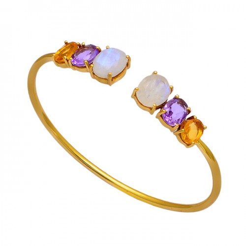 Amethyst Citrine Moonstone 925 Sterling Silver Gold Plated Bangle Jewelry
