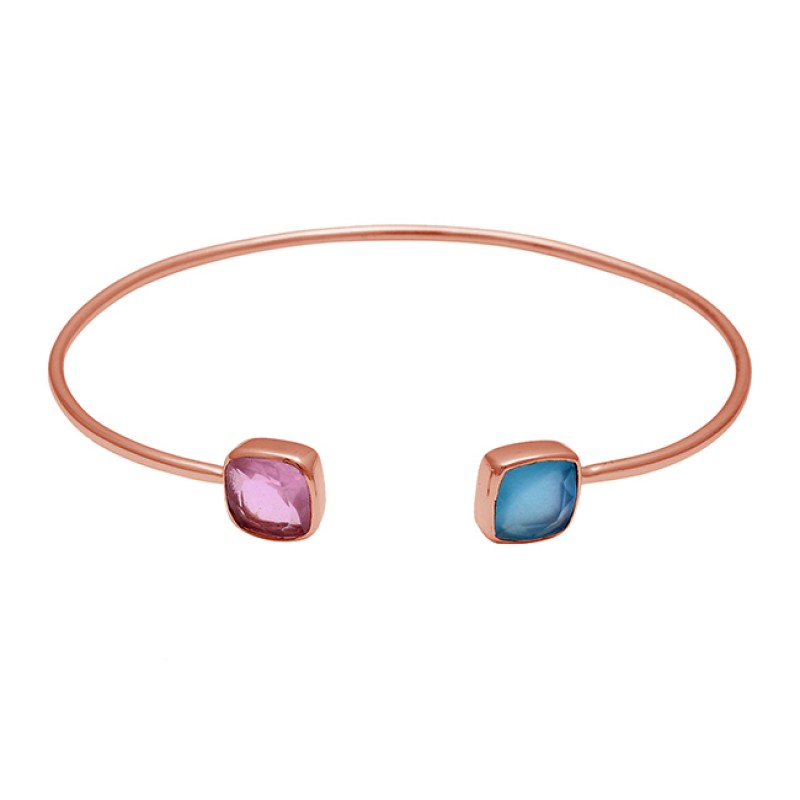 Pink Quartz Blue Chalcedony Gemstone 925 Sterling Silver Gold Plated Bangle