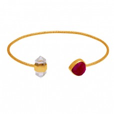 925 Sterling Silver Ruby Crystal Quartz Gemstone Gold Plated Designer Bangle