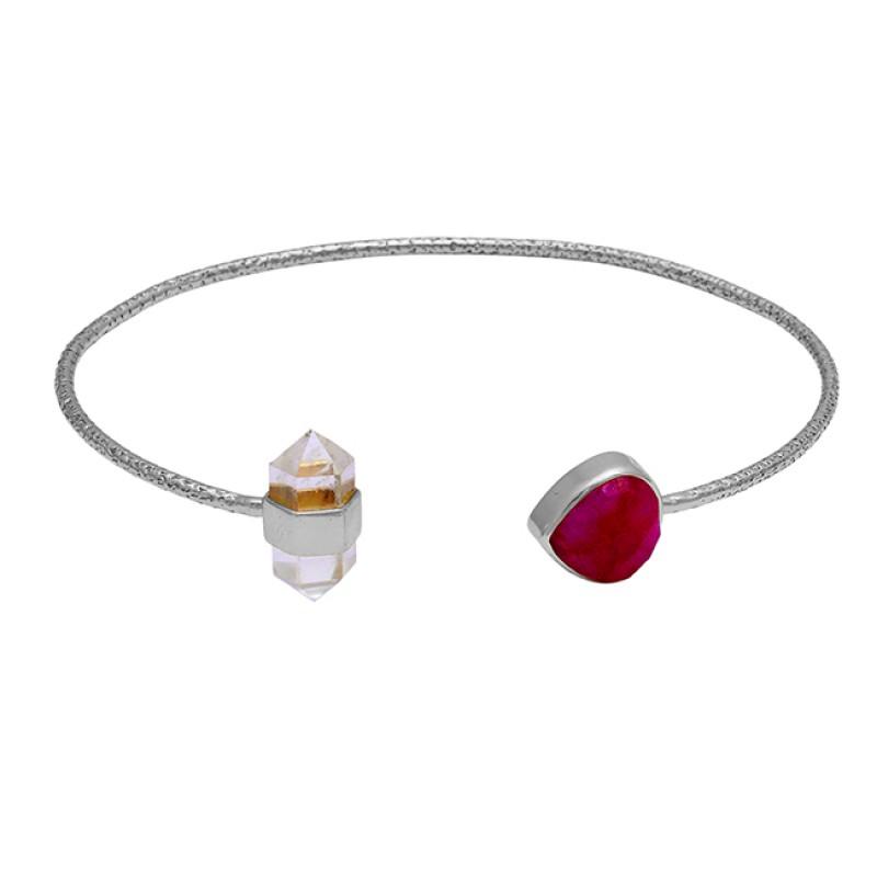 925 Sterling Silver Ruby Crystal Quartz Gemstone Gold Plated Designer Bangle
