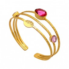 925 Sterling Silver Quartz Gemstone Gold Plated Handmade Bangle Jewelry