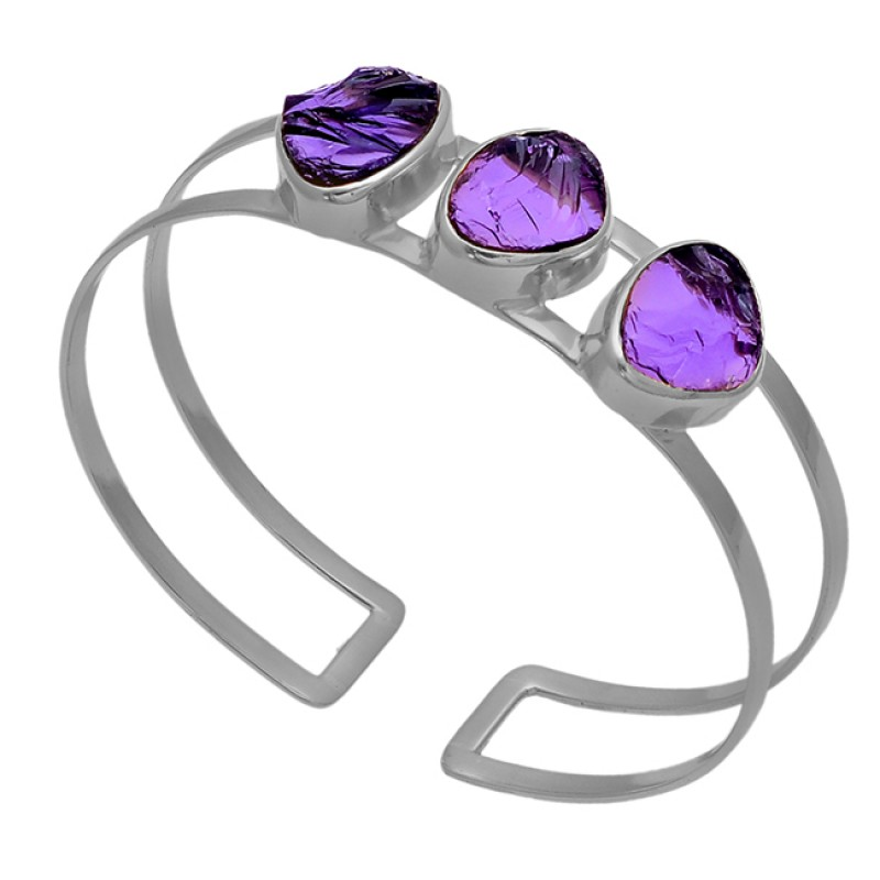 Raw Material Amethyst Rough Gemstone 925 Sterling Silver Gold Plated Bangle