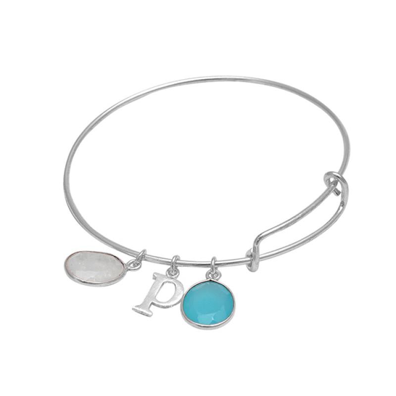 "Alphabet ""P"" Designer Rainbow Chalcedony Gemstone 925 Sterling Silver Bangle Jewelry"