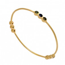 Peridot Tanzanite Quartz Gemstone 925 Sterling Silver Gold Plated Bangle