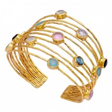 Round Shape Multi Color Gemstone 925 Silver Gold Plated Adjustable Bangle