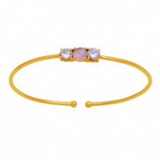 925 Sterling Silver Chalcedony Cz Gemstone Gold Plated Designer Bangle