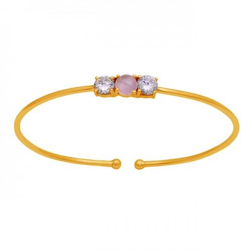 925 Sterling Silver Chalcedony Cz Gemstone Gold Plated Designer Bangle