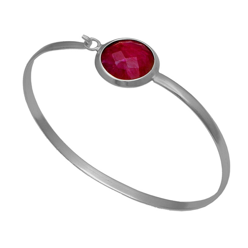 925 Sterling Silver Ruby Round Shape Gemstone Gold Plated Bangle Jewelry