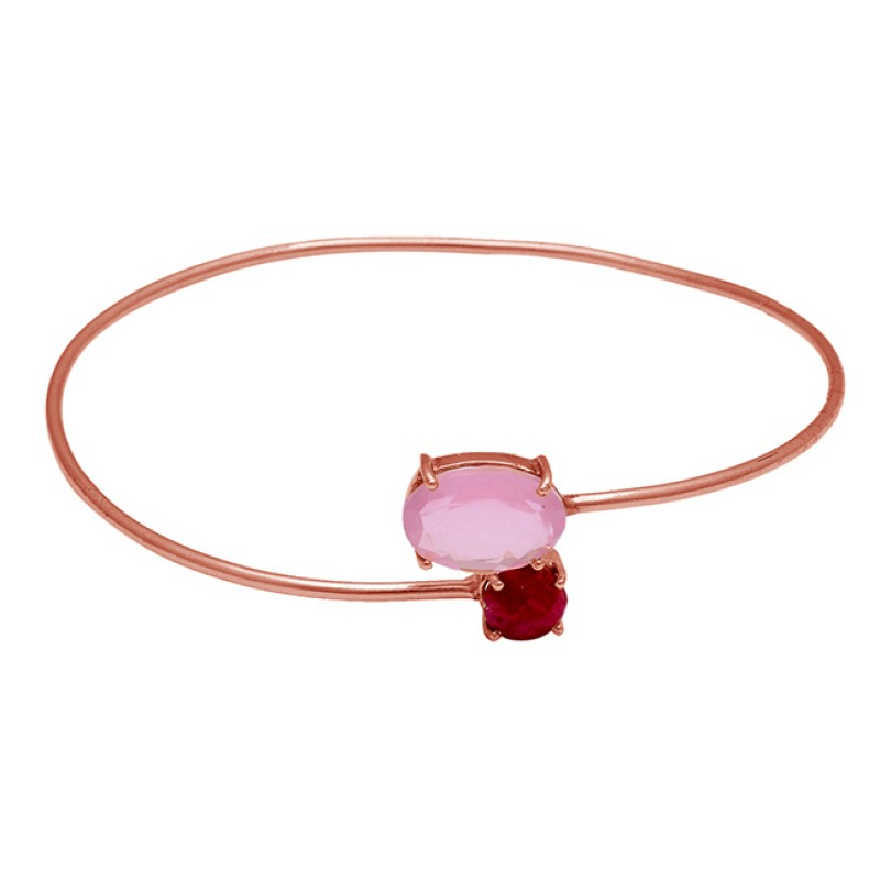Ruby Chalcedony Gemstone 925 Sterling Silver Gold Plated Bangle Jewelry