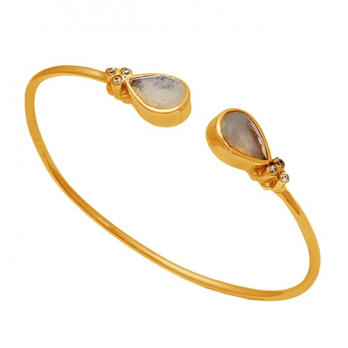Pear Shape Rainbow Moonstone 925 Sterling Silver Gold Plated Bangle Jewelry