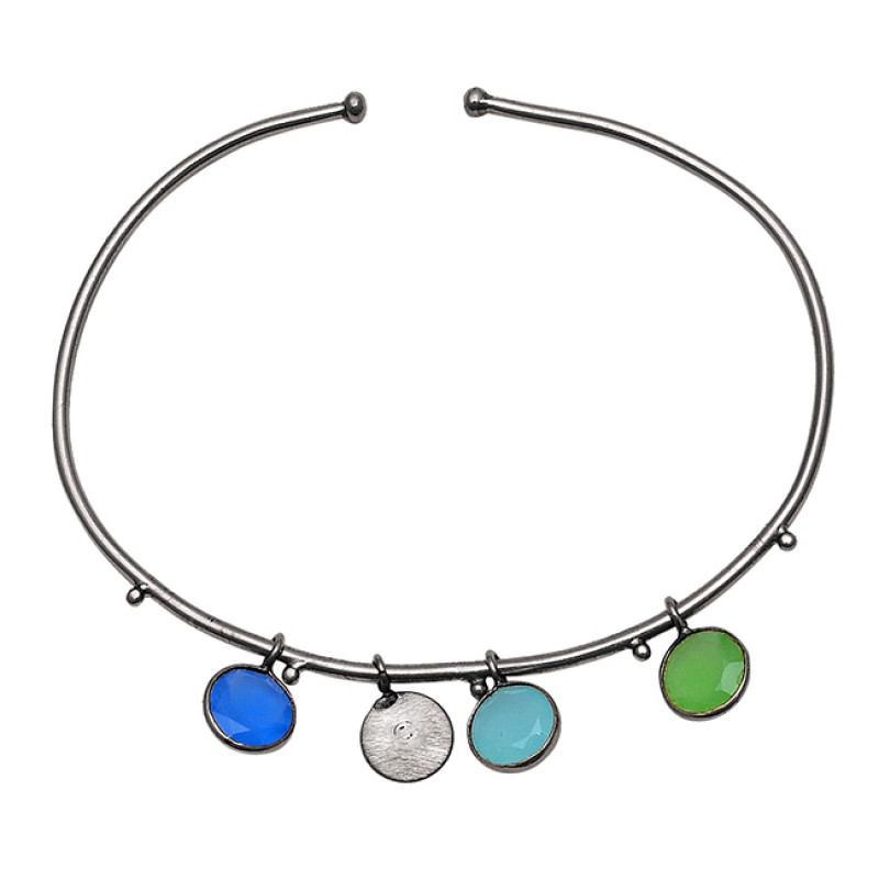 Round Shape Multi Color Gemstone 925 Sterling Silver Gold Plated Bangle