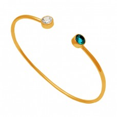Round Shape Apatite Cz Gemstone 925 Sterling Silver Gold Plated Bangle