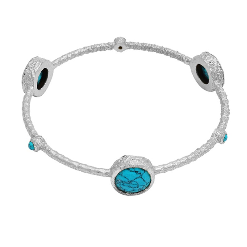 Matrix Turquoise round sterling silver gold plated bangle jewelry