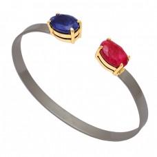 Oval Shape Blue Sapphire Ruby Gemstone 925 Silver Black Rhodium Bangle