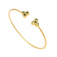 Round Shape Peridot Gemstone 925 Sterling Silver Gold Plated Bangle Jewelry