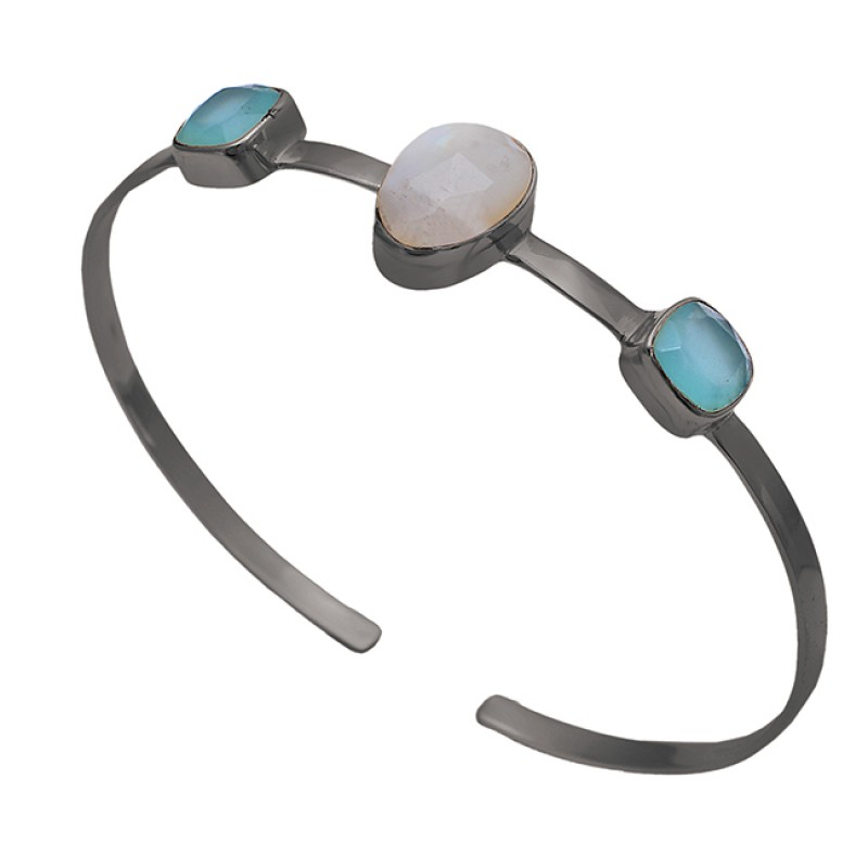 Chalcedony Moonstone 925 Sterling Solid Silver Gold Plated Bangle Jewelry