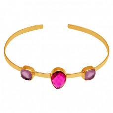 Amethyst Ruby Quartz Gemstone 925 Sterling Silver Gold Plated Bangle