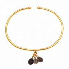 Drops Shape Smoky Quartz Gemstone 925 Sterling Silver Gold Plated Bangle