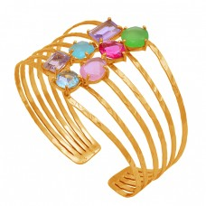 925 Sterling Silver Multi Color Gemstone Gold Plated Adjustable Bangle