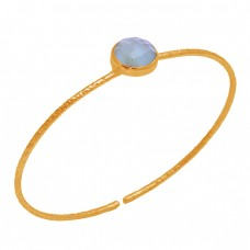 Round Shape Aquamarine Gemstone 925 Sterling Silver Rose Gold Plated Bangle