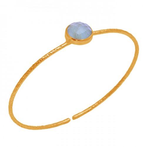 Round Shape Aquamarine Gemstone 925 Sterling Silver Rose Gold Plated Bangle