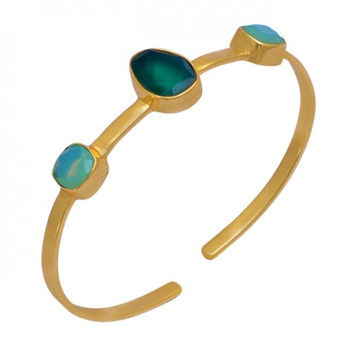 Green Onyx Moonstone 925 Sterling Solid Silver Gold Plated Bangle Jewelry
