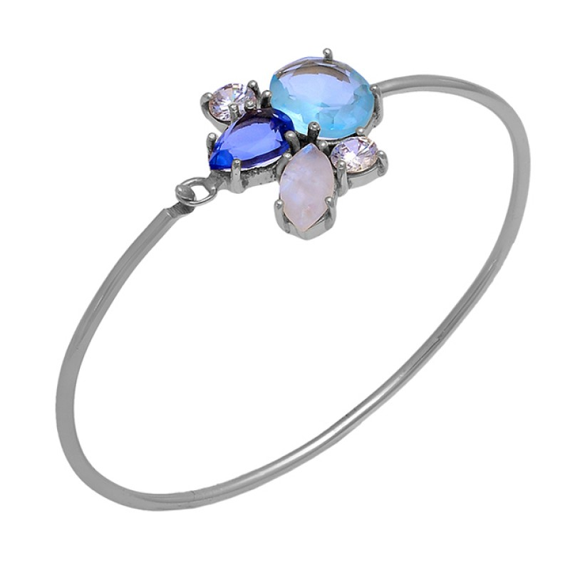 Prong Setting Multi Color Gemstone 925 Sterling Silver Gold Plated Bangle