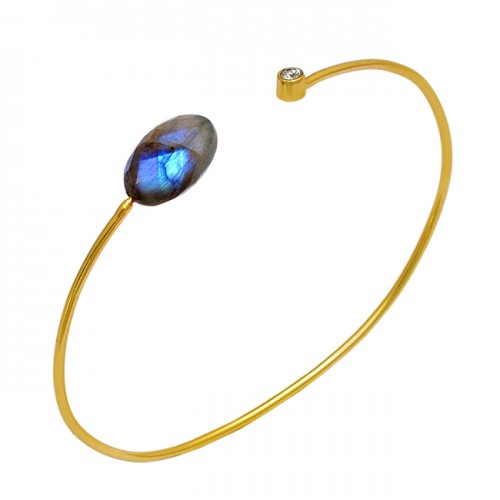 Labradorite Cz Gemstone 925 Sterling Silver Gold Plated Designer Bangle