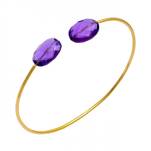 Faceted Oval Shape Amethyst Gemstone 925 Sterling Silver Gold Plated Bangle