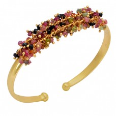 Multi Tourmaline Beads Gemstone 925 Sterling Silver Gold Plated Bangle