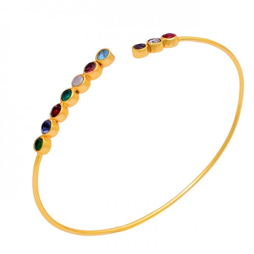 925 Sterling Silver Multi Color Round Shape Gemstone Gold Plated Bangle