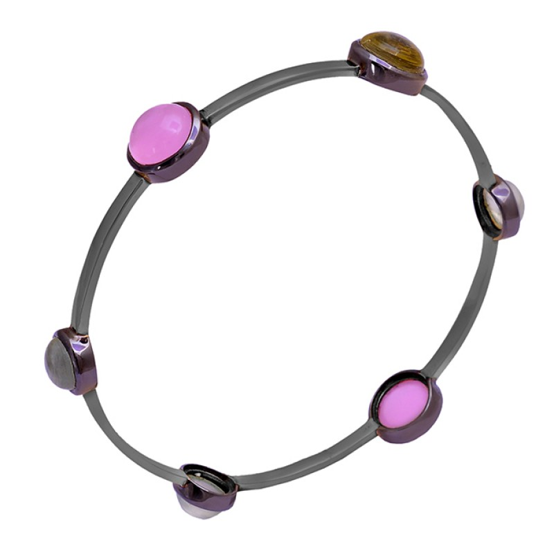 Round Shape Chalcedony Gemstone 925 Sterling Silver Gold Plated Bangle