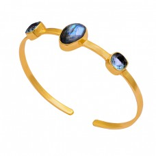 Labradorite Blue Topaz Gemstone 925 Sterling Silver Gold Plated Bangle