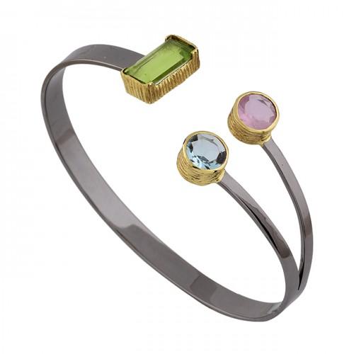 Peridot Topaz Chalcedony Gemstone 925 Silver Black Rhodium Bangle Jewelry