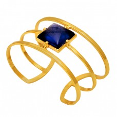 Square Shape Tanzanite Quartz Gemstone 925 Silver Gold Plated Bangle
