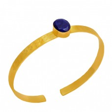 Oval Shape Lapis Lazuli Gemstone 925 Sterling Silver Gold Plated Bangle