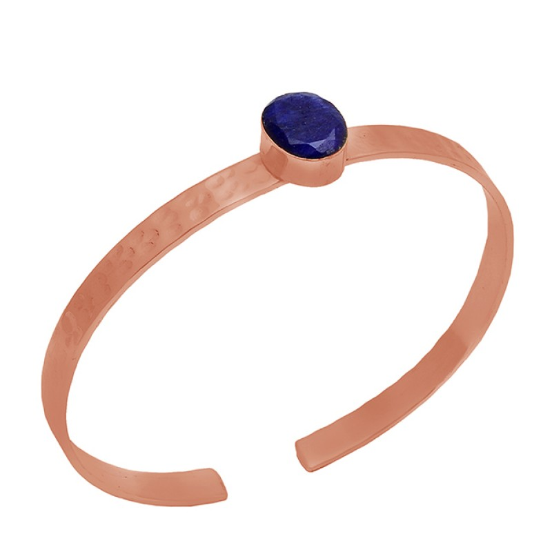 Oval Shape Lapis Lazuli Gemstone 925 Sterling Silver Gold Plated Bangle