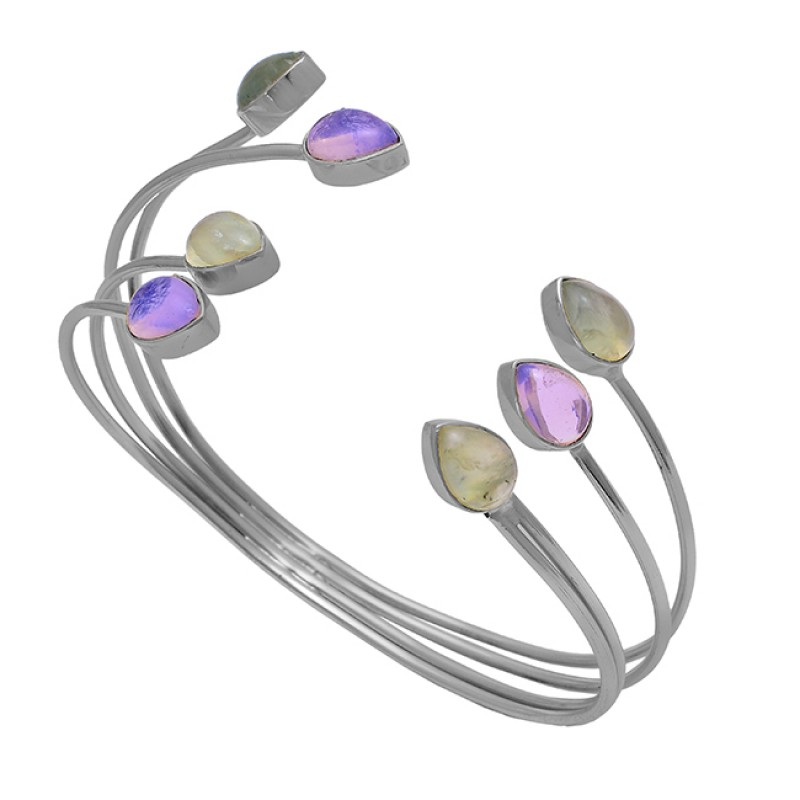 Pear Shape Chalcedony Amethyst Gemstone 925 Silver Gold Plated Bangle