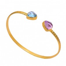 Triangle Shape Topaz Quartz Gemstone 925 Silver Gold Plated Bangle Jewelry