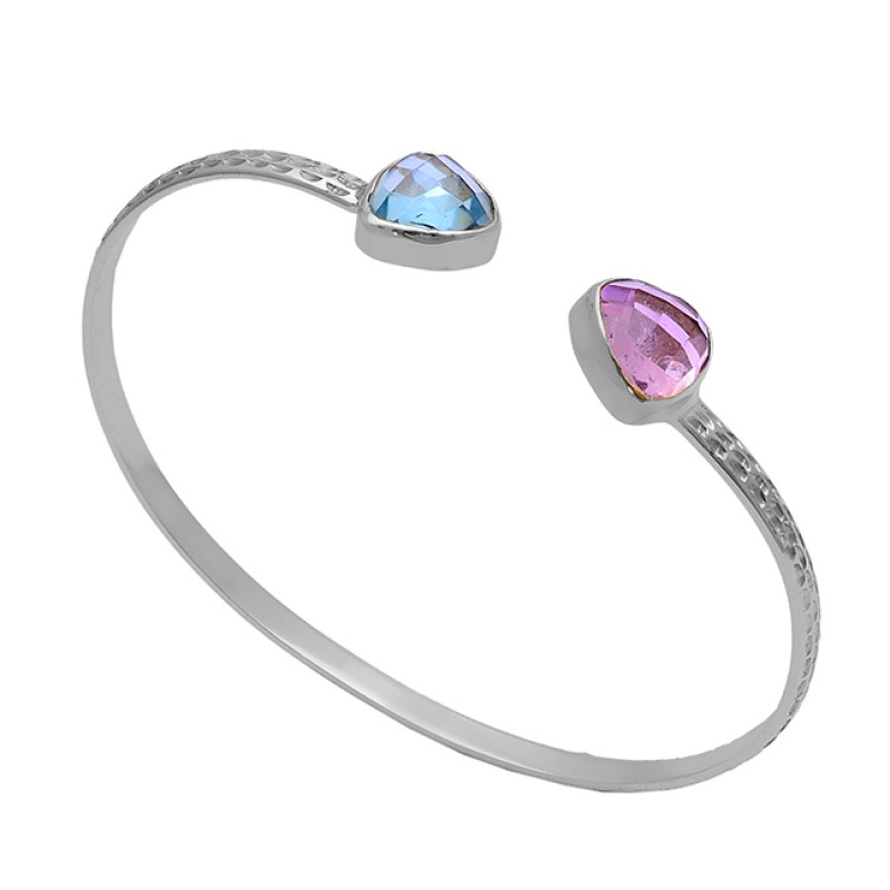 Triangle Shape Topaz Quartz Gemstone 925 Silver Gold Plated Bangle Jewelry