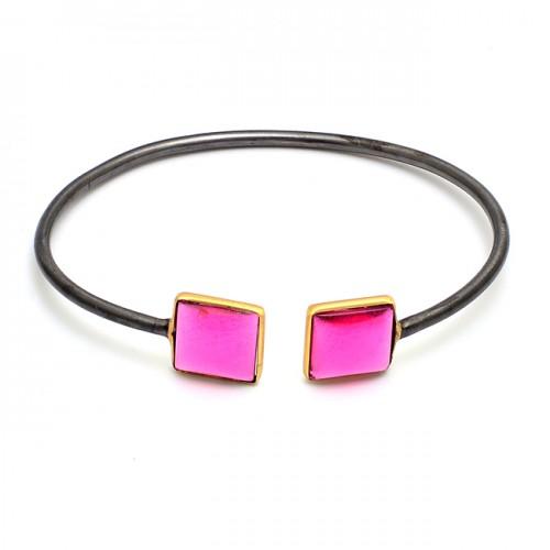 Square Shape Pink Quartz Gemstone 925 Silver Black Rhodium Bangle Jewelry