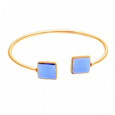 Square Shape Tanzanite Gemstone 925 Sterling Silver Bangle Jewelry