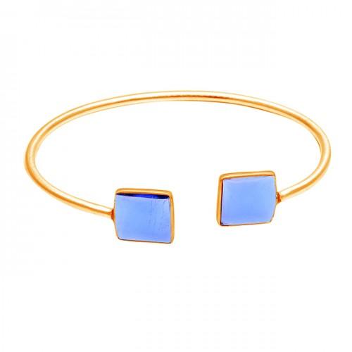 Square Shape Tanzanite Gemstone 925 Sterling Silver Bangle Jewelry