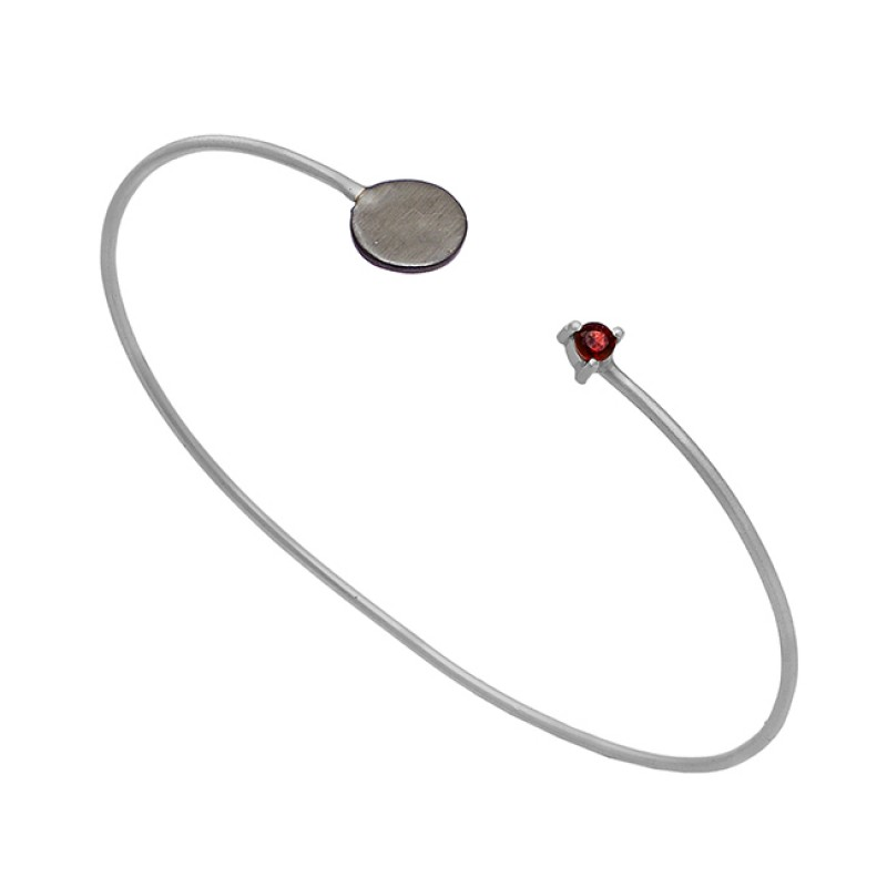 Round Shape Garnet Gemstone 925 Sterling Silver Gold Plated Bangle Jewelry